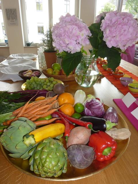 Ayurveda Roundtable Gemuese-Obst-Blumen
