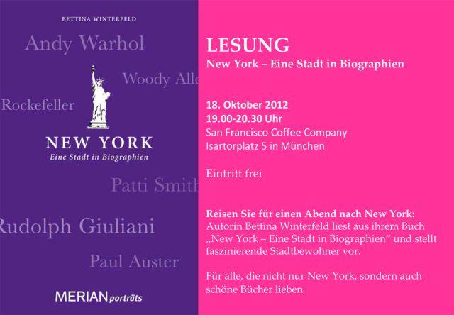Bettina Winterfeld Einladung Lesung New York