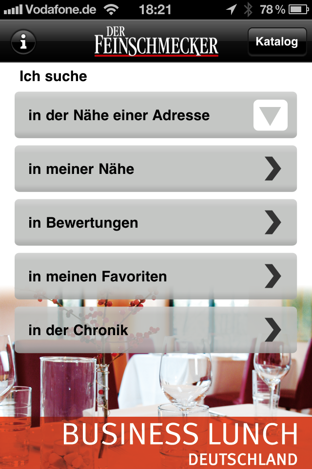 Der Feinschmecker Gourmetmagazin iPhone App Business Lunch